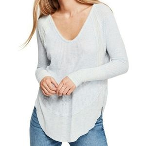 We The Free Tops - We The Free Gray Waffle Knot Thermal Top Size XS